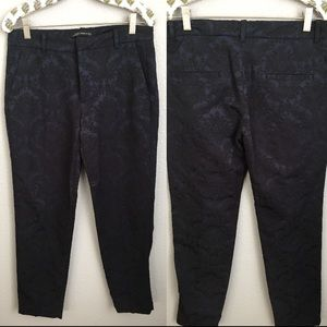 Zara Black & Blue Brocade Print Crop Career Pant S